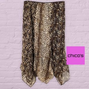 CHICOS 100% SILK ANIMAL PRINT MAXI SKIRT SIZE L